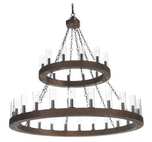 Minstrel 36 Light 2 Tier Pendant Dark Wood (Class 2 Double Insulated) BXMIN2547-17